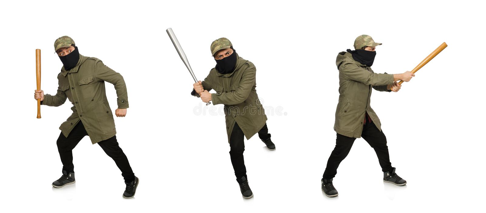Funny man with baseball bat isolated on white. The funny man with baseball bat isolated on white royalty free stock photography