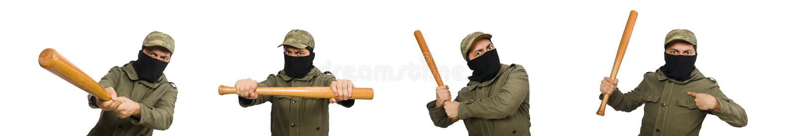 Funny man with baseball bat isolated on white royalty free stock images