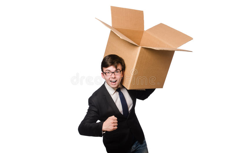 Funny man with boxes isolated. On white royalty free stock photography