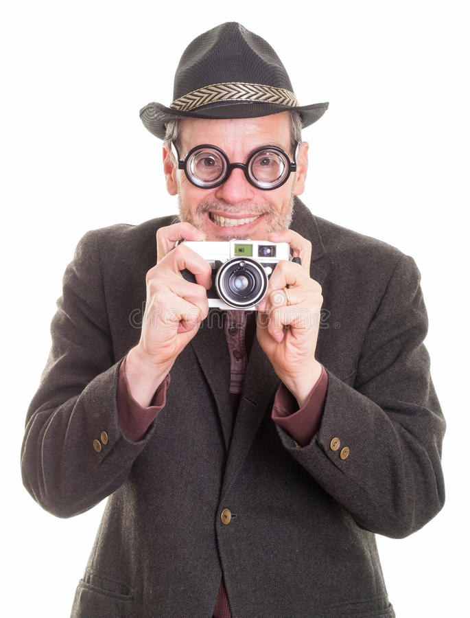 Download Funny Man With Camera Taking A Picture Stock Image - Image: 28020357
