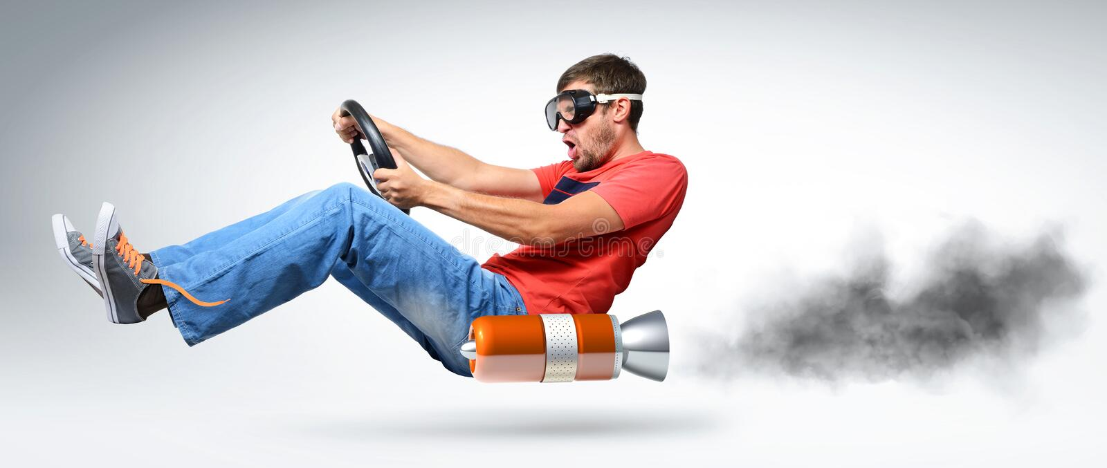 Funny man car driver with a wheel. Concept of alternative transport royalty free stock images