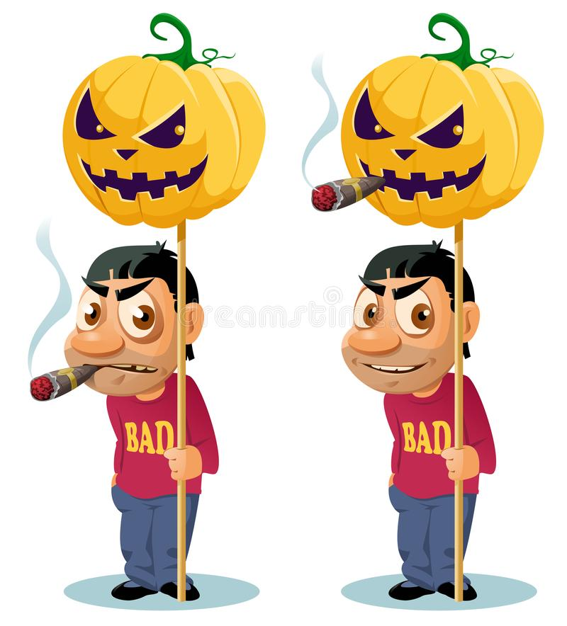 Funny man with cigar holds the Halloween pumpkin on the pole. Happy Halloween! Cartoon styled vector illustration. Elements is grouped. No transparent objects royalty free illustration