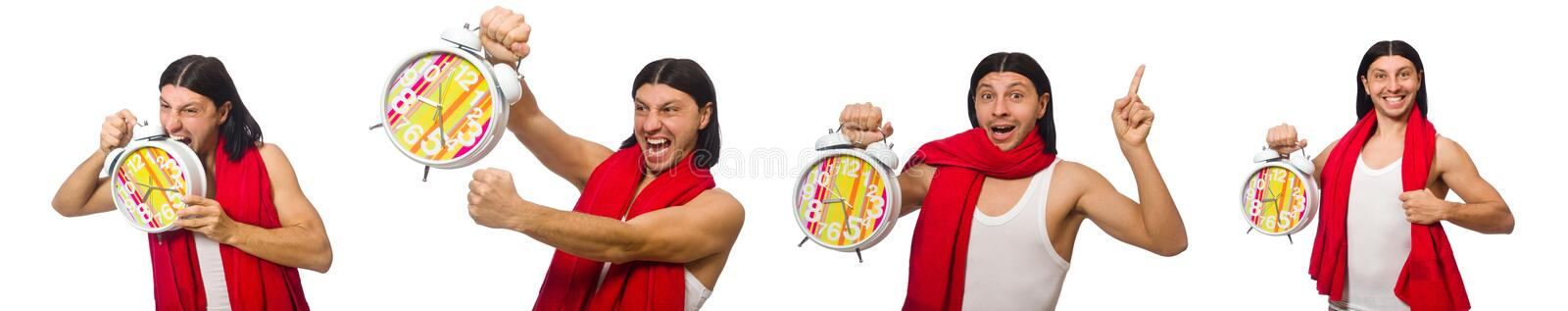 Funny man with clock  on white. The funny man with clock  on white stock photos