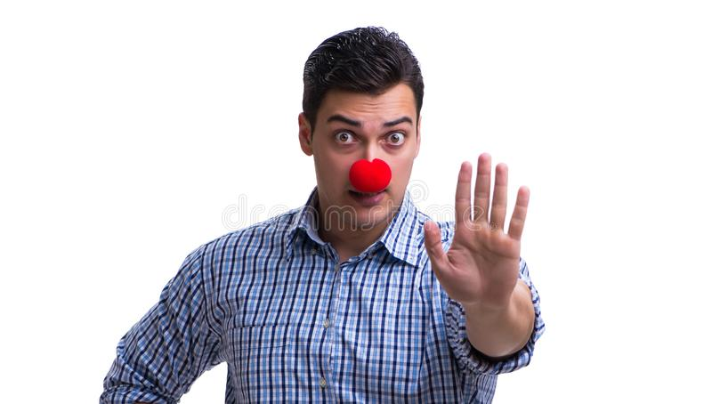 Funny man clown isolated on white background royalty free stock image