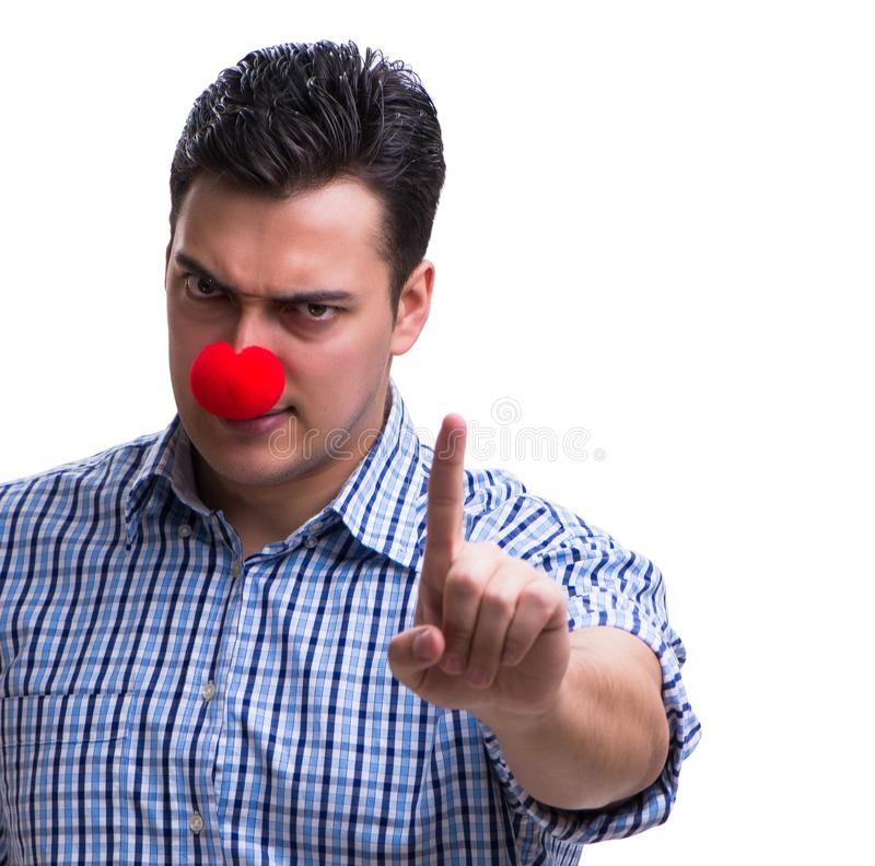 Funny man clown isolated on white background. The funny man clown isolated on white background stock photos