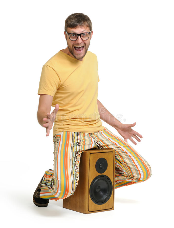 Download Funny Man Dancing On The Speaker Stock Photo - Image: 24473546