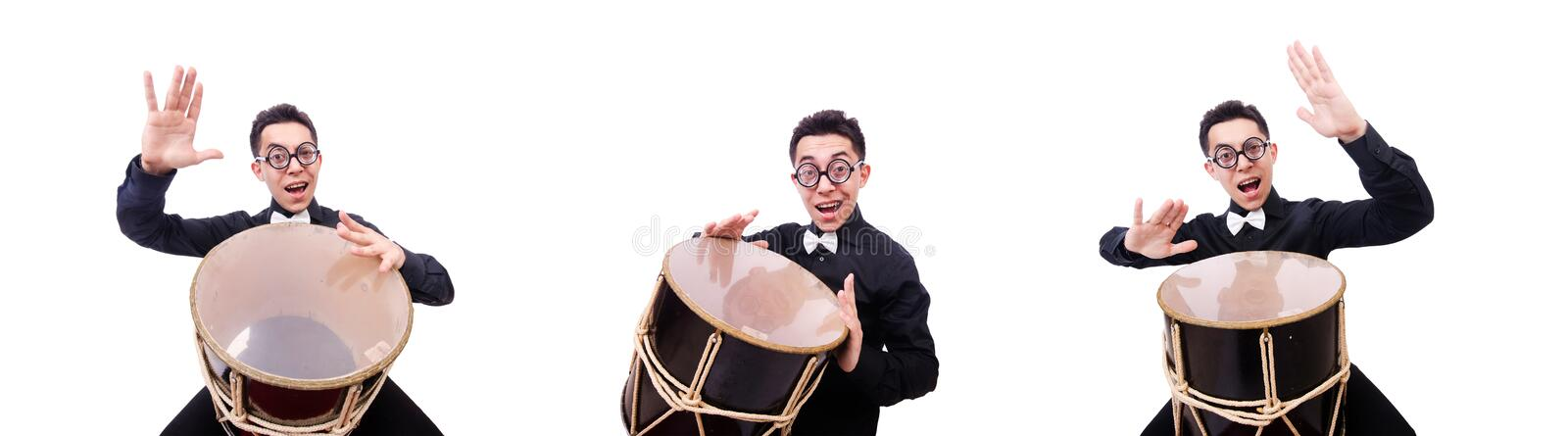 Funny man with drum on white stock photography