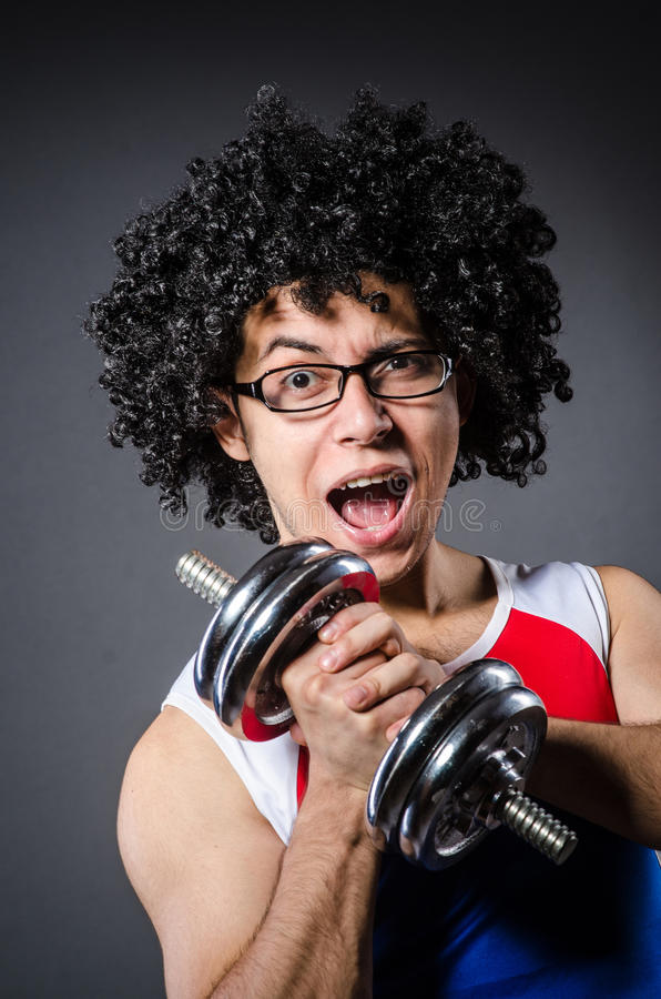 Download Funny man exercising stock photo. Image of humorous, afro - 36981086
