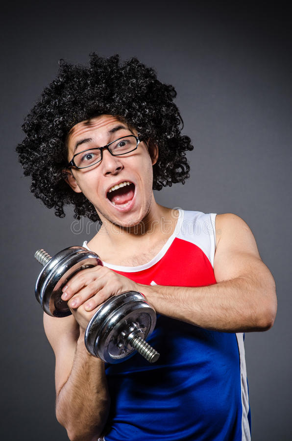 Funny Man Exercising Stock Photo
