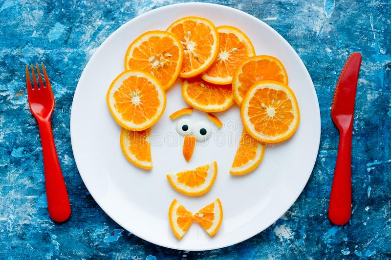 Funny man face fruit plate stock photos