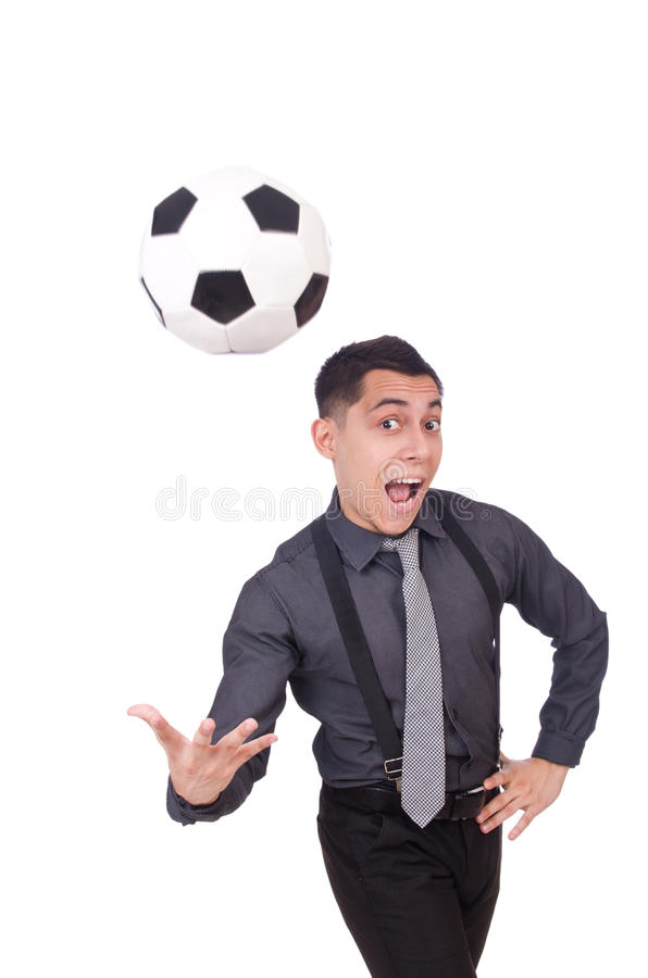 Funny man with football