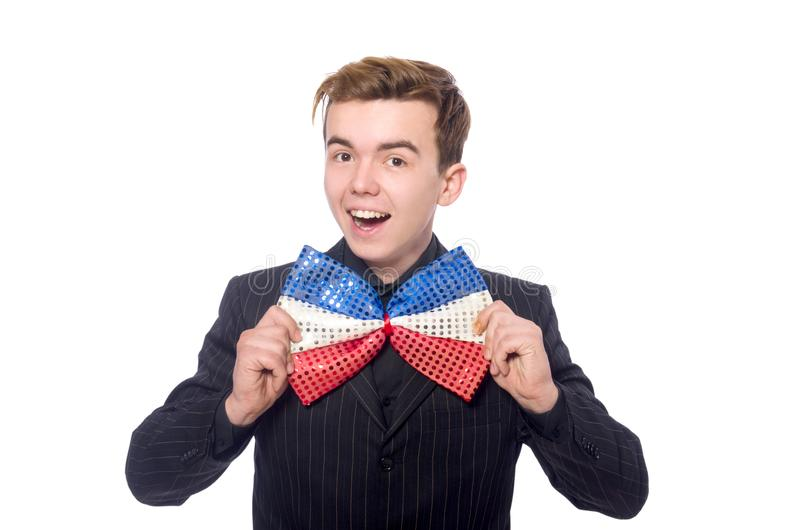 Funny man with giant bow tie stock photo
