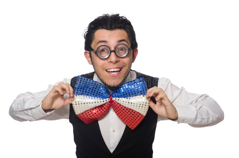 Funny man with giant bow tie. Funny man wearing giant bow tie stock photo