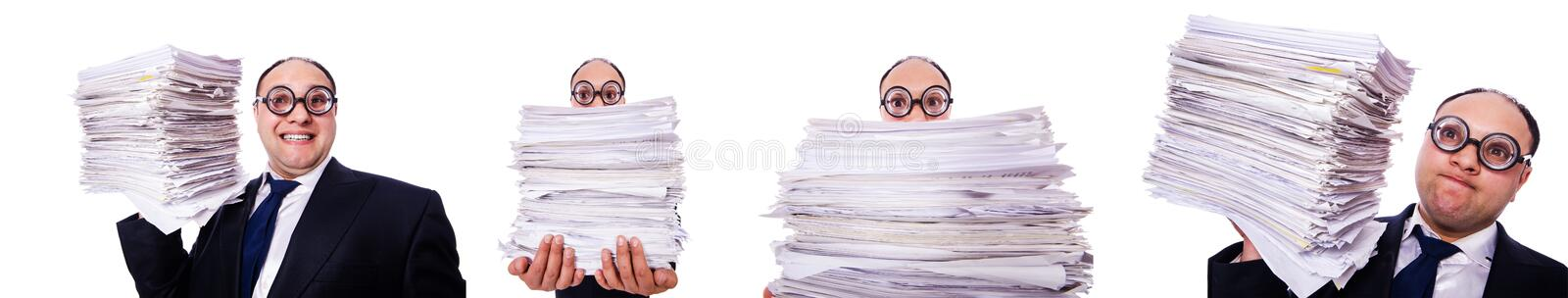 The funny man with lots of folders on white. Funny man with lots of folders on white royalty free stock image