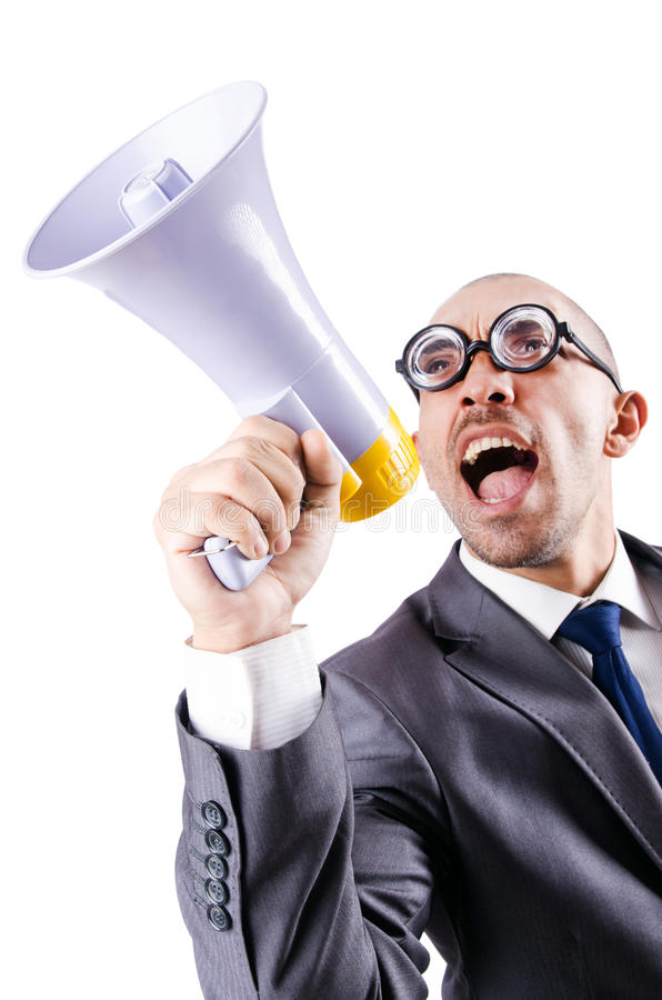 Download Funny man with loudspeaker stock photo. Image of adult - 28785404