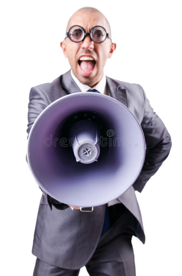 Download Funny man with loudspeaker stock photo. Image of construction - 29368512