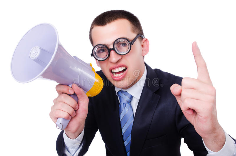 Download Funny Man With Loudspeaker Royalty Free Stock Image - Image: 34866206