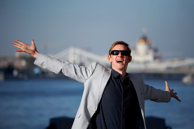 Download Funny Man With Outstretched Arms Royalty Free Stock Photos - Image: 8886208