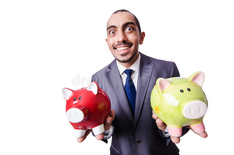 Funny man with piggybank. On white royalty free stock images