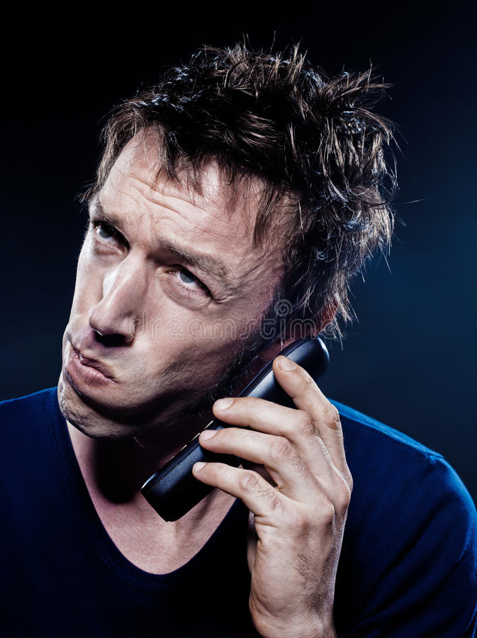 Funny Man Portrait Phoning royalty free stock images