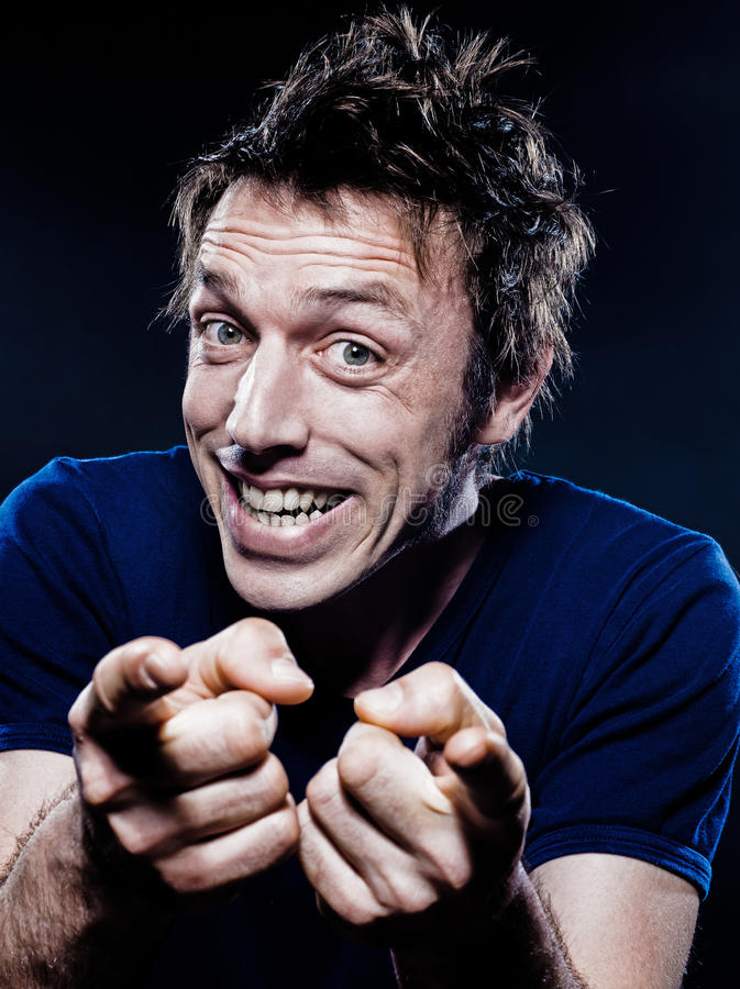 Funny Man Portrait pointing stock photography