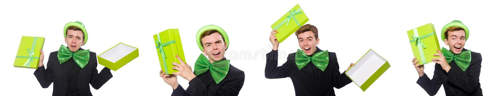 The funny man in saint patrick holiday concept. Funny man in saint patrick holiday concept stock images