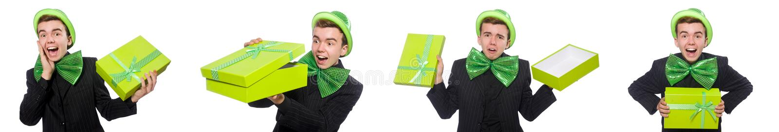 The funny man in saint patrick holiday concept. Funny man in saint patrick holiday concept stock photos