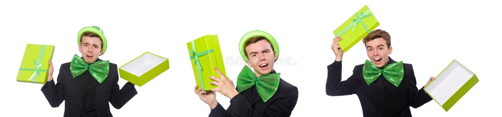 The funny man in saint patrick holiday concept. Funny man in saint patrick holiday concept stock photo