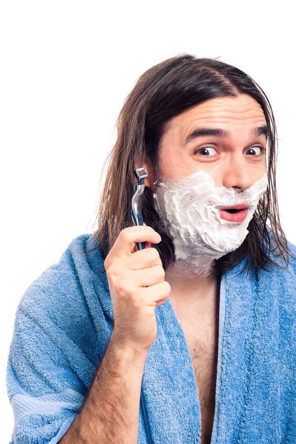 Funny man shaving