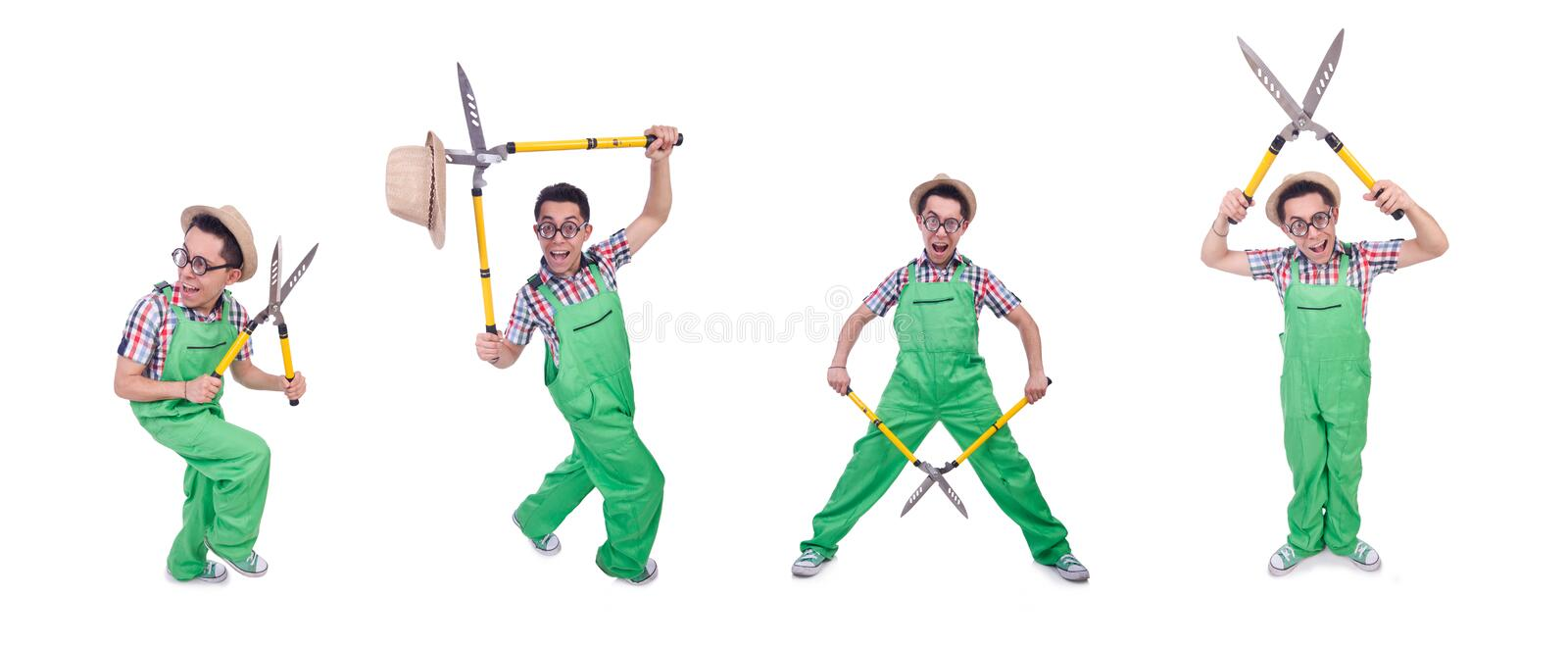 Funny man with shears on white royalty free stock photo