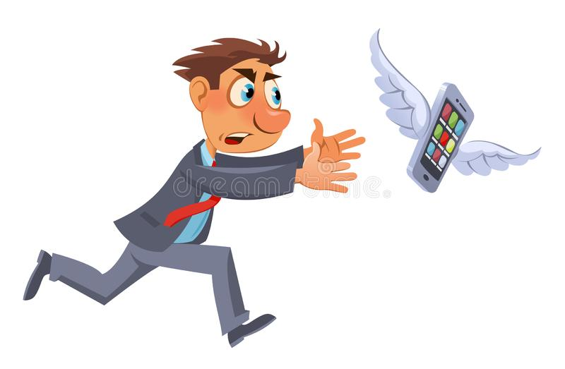 Funny man in suit trying to catch mobile phone. Cartoon styled vector illustration. Elements is grouped. No transparent objects vector illustration