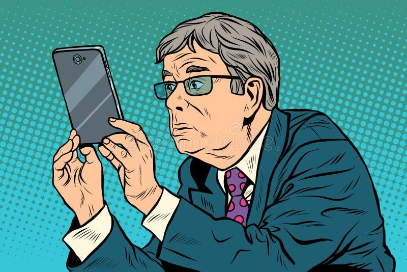 Homme drôle, prendre des photos avec illustration vectorielle smartphone