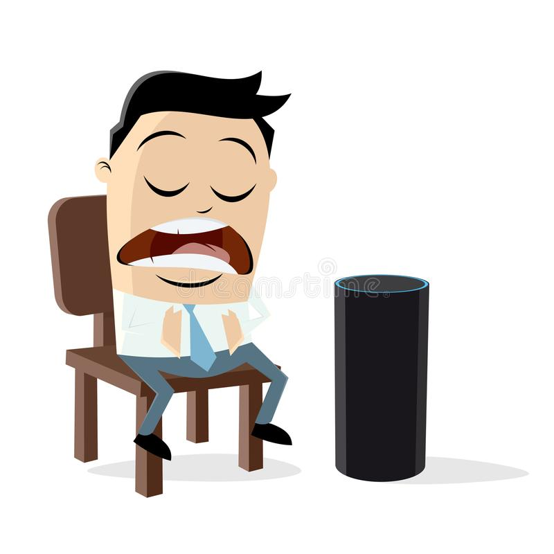 Funny man talking to a digital assistant. Clipart of a funny man talking to a digital assistant vector illustration