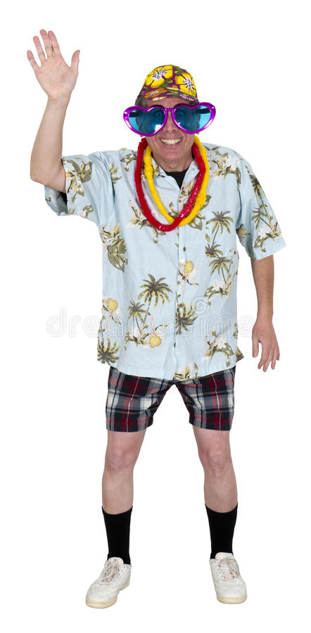 Funny Man Tourist Wave While Travel Isolated royalty free stock images