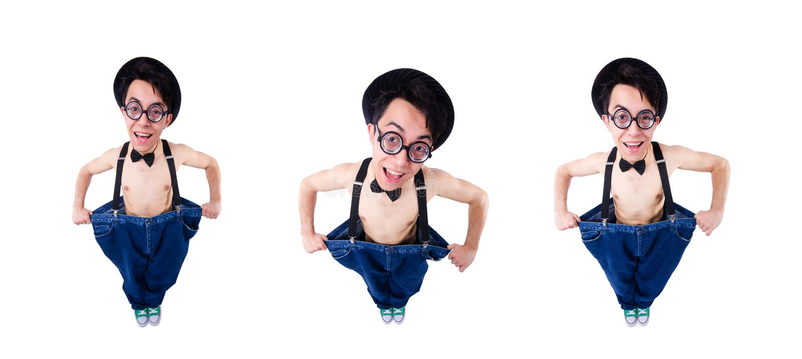 Funny man with trousers isolated on white stock images