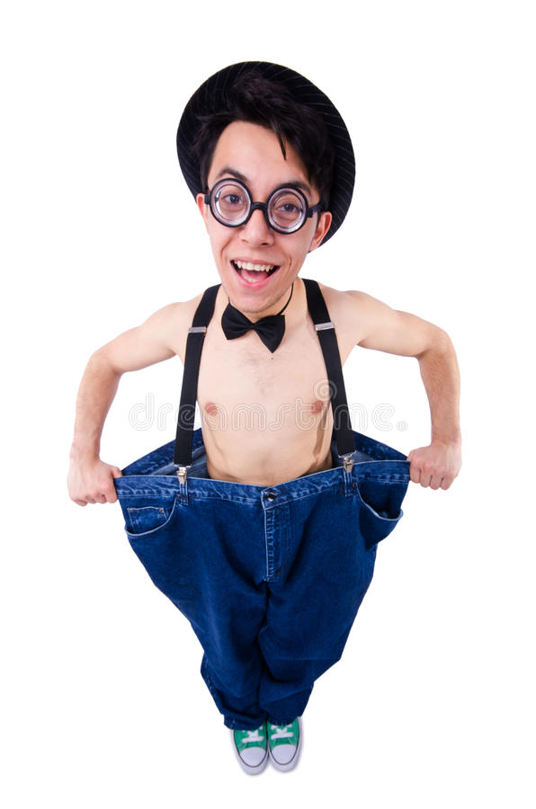 Download Funny man with trousers stock photo. Image of lost, belly - 34469030