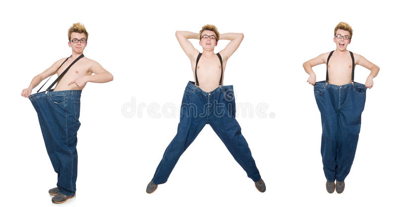 The funny man with trousers royalty free stock images