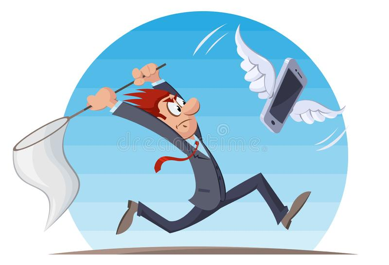 Funny man trying to catch mobile phone. Cartoon styled vector illustration. Elements is grouped. No gradient, no transparent objects vector illustration