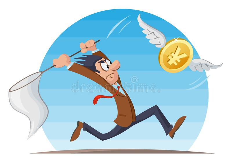 Funny man trying to catch yen coin with a butterfly net. Cartoon styled vector illustration. Elements is grouped and divided into layers. No transparent vector illustration