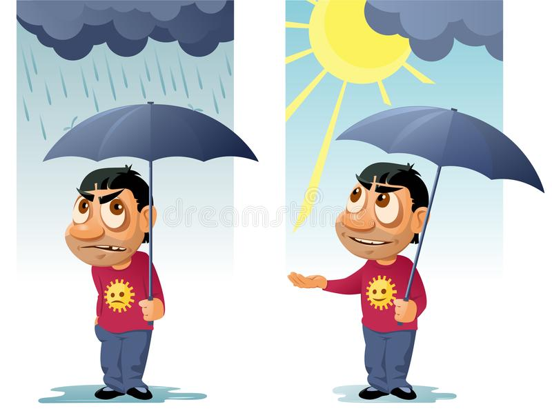 Funny man with umbrella. The rain was over and the sun came out stock illustration