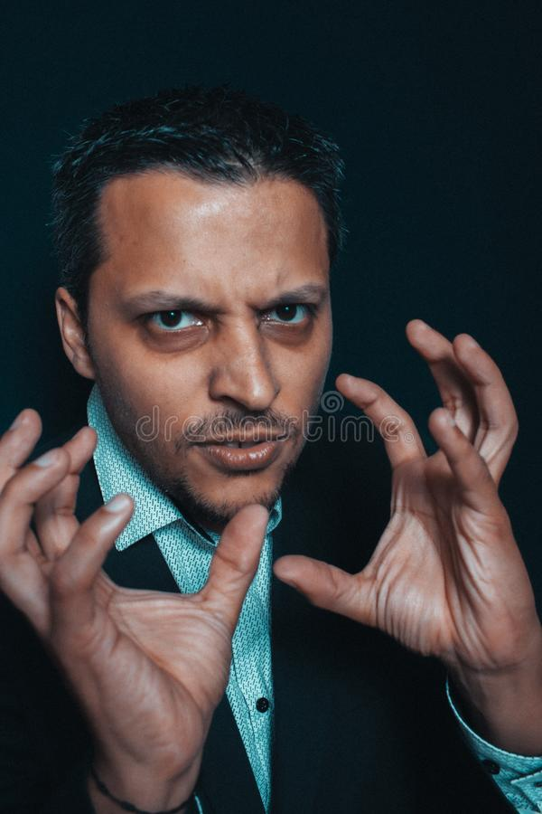 Funny man using his hands stock image
