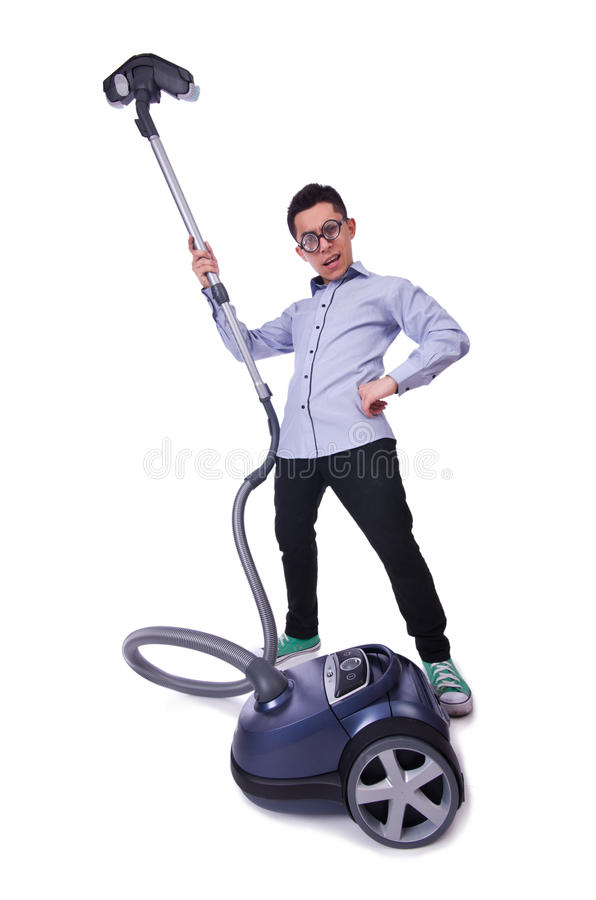 Download Funny Man With Vacuum Cleaner Stock Image - Image: 32811559
