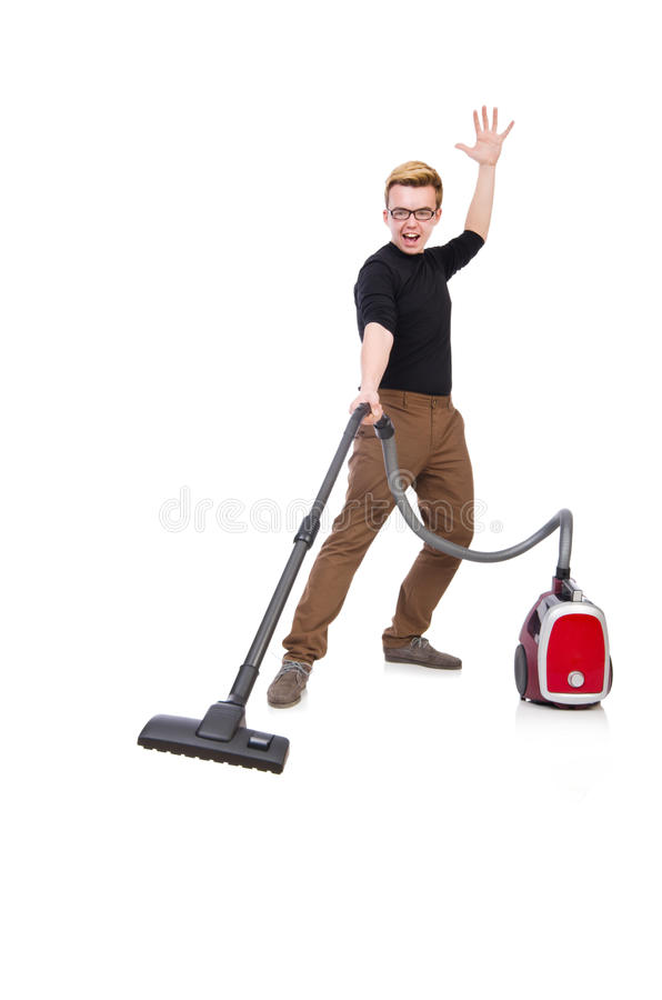 Download Funny Man With Vacuum Cleaner Stock Image - Image: 39761259