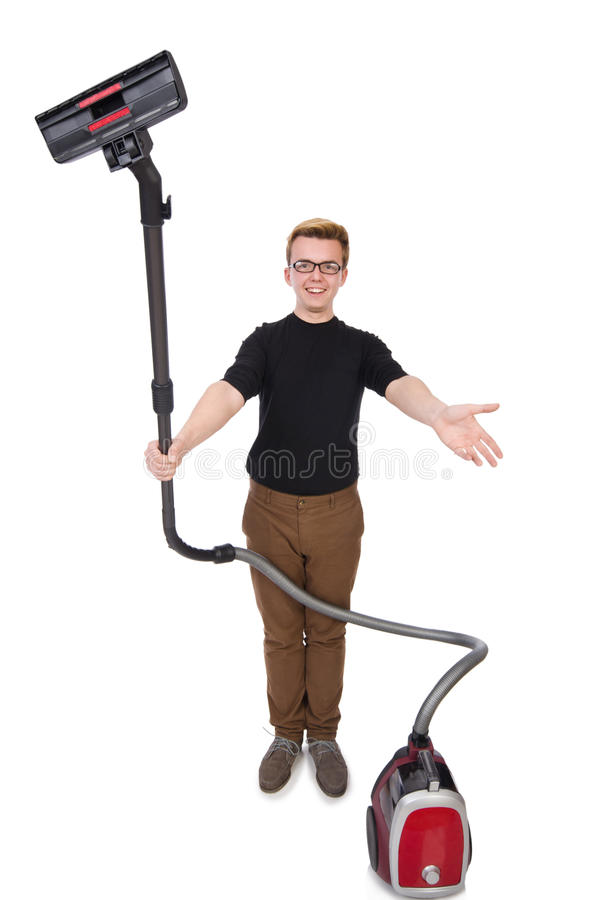 Download Funny Man With Vacuum Cleaner Stock Photo - Image: 39761716