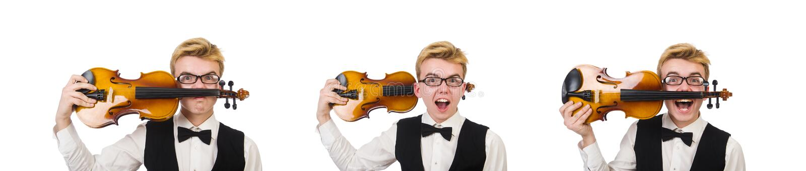 Funny man with violin on white royalty free stock photography