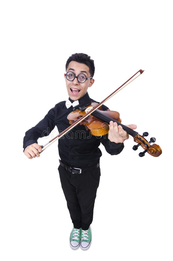 Funny Man With Violin Stock Photography