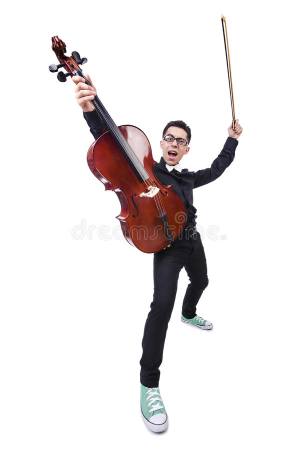 Download Funny man with violin stock image. Image of cello, isolated - 32586995