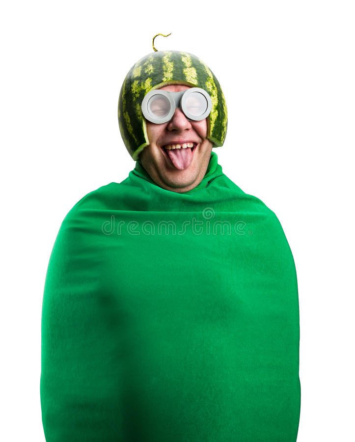 Funny man with watermelon helmet and googles royalty free stock image