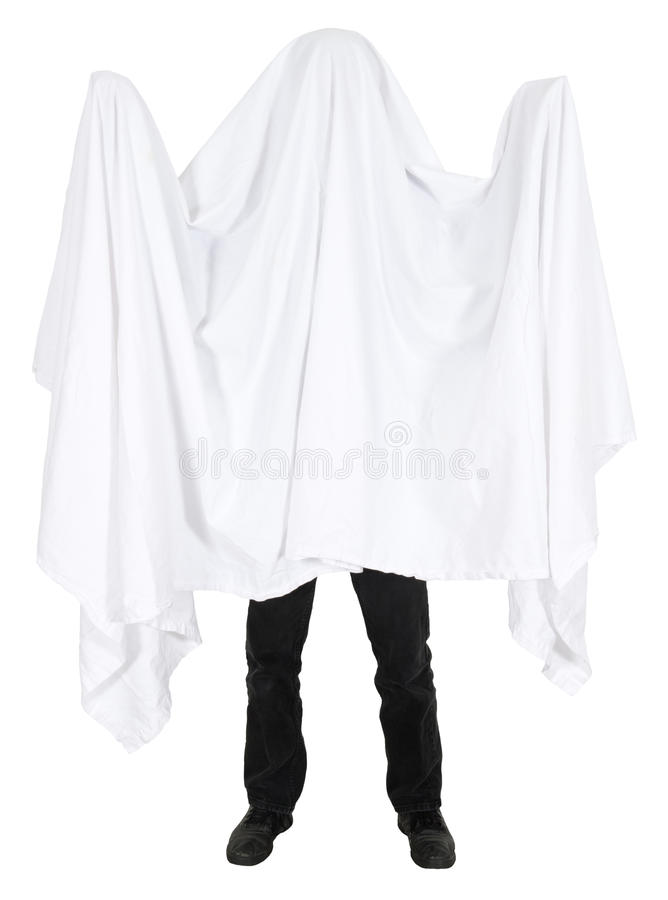 Free Funny Man Wearing Bedsheet Ghost Costume Isolated Royalty Free Stock Image - 27599406