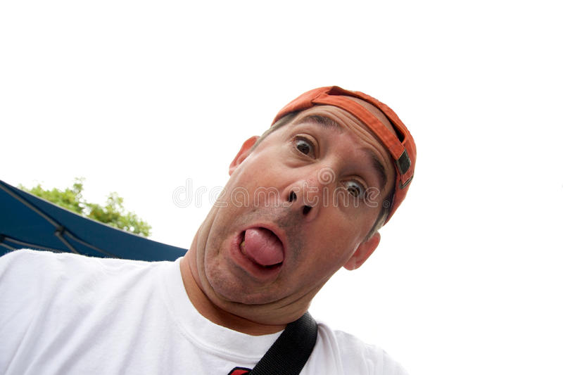 Funny man wearing a cap stock image